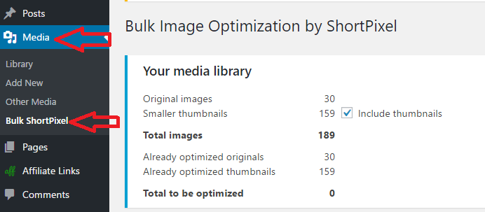 bulk optimize with shortpixel