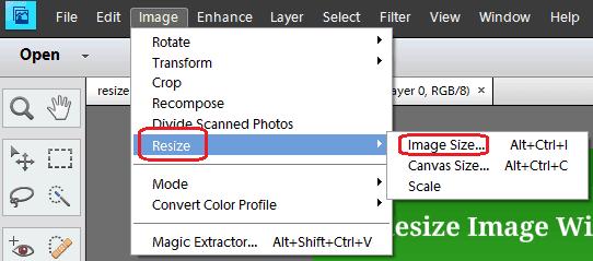 resize photos for web on photoshop elements