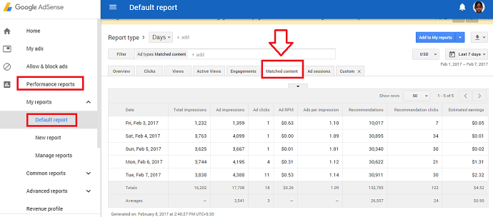 adsense matched content performance