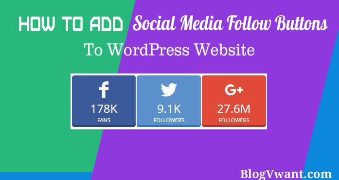 Add social media follow buttons to wordpress website