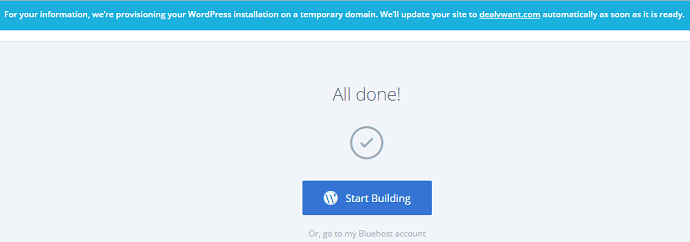 Bluehost all done