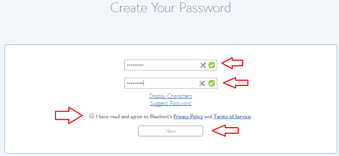 set password for bluehost account