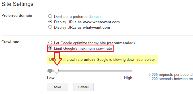 limit google crawl rate