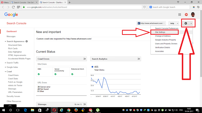 site settings in google webmaster tools