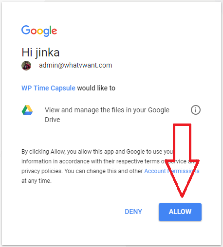 wptimecapsule google drive permission