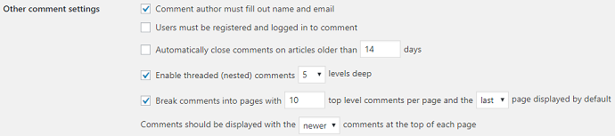 wordpress other comment settings