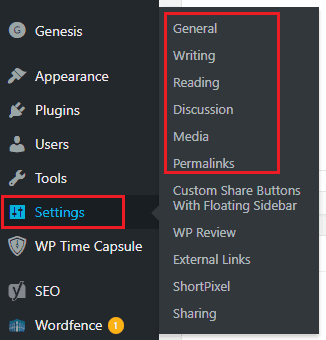wordpress settings