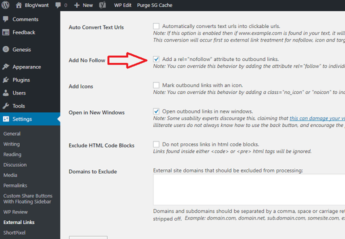 external links plugin settings