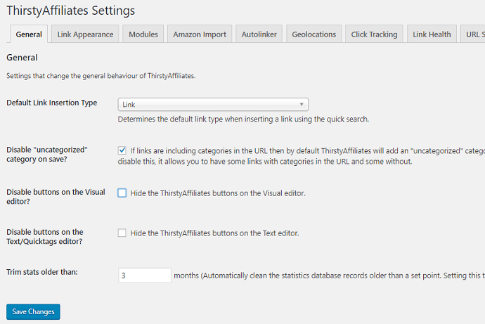 ThirstyAffiliates General settings