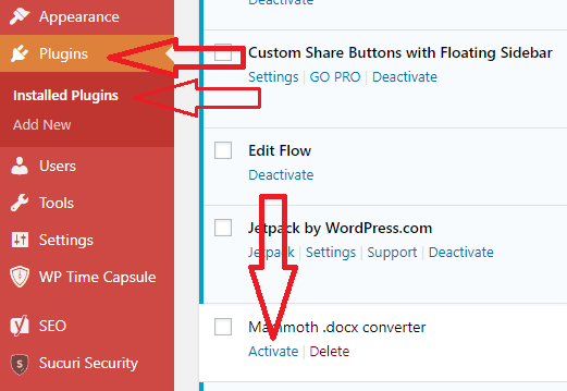activate plugin from wordpress