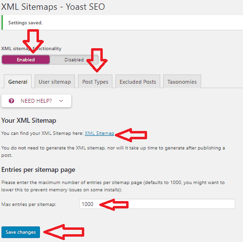 Generate XML sitemap with Yoast SEO
