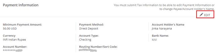 CJ payment information