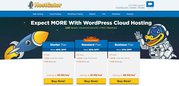 Hostgator Managed WordPress hosting
