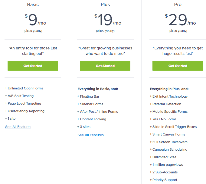 Optinmonster Plans, Pricing, and Features