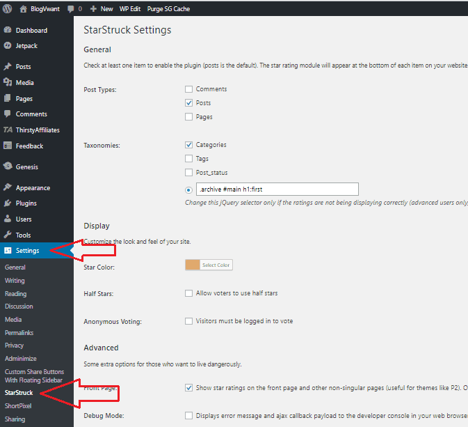 StarStruck settings