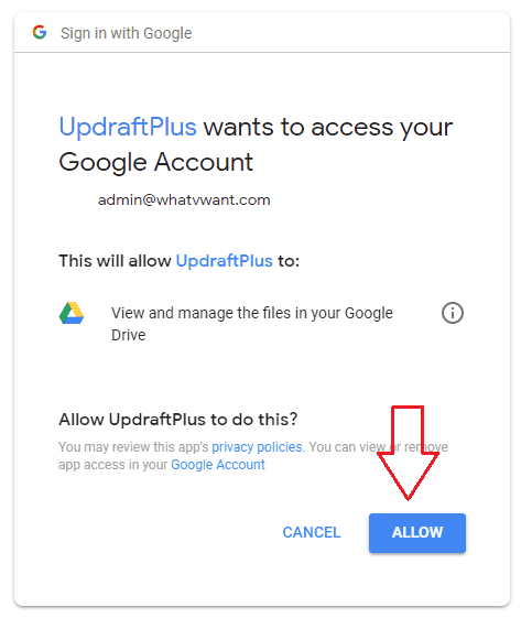 Allow authentication Google Drive with UpdraftsPlus