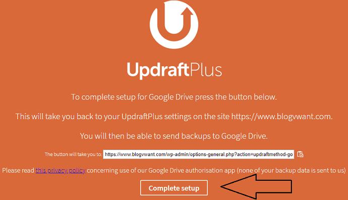 Complete UpdraftPlus setup