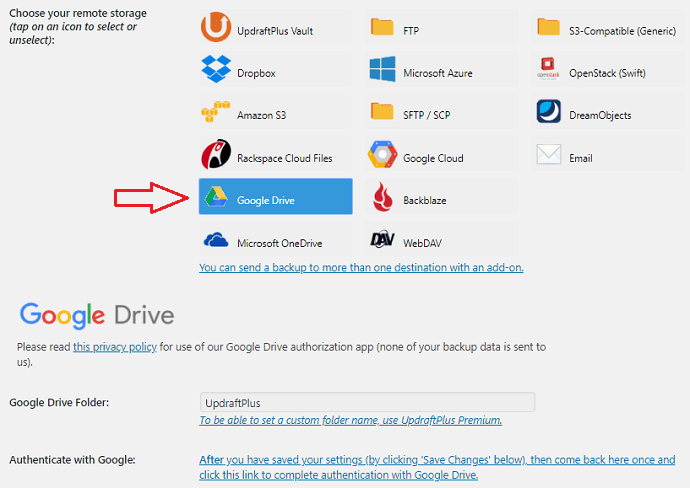 UpdraftsPlus Google Drive backup